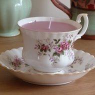 Candle in a tea cup - rose design - £8.00