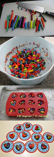 These would be cute gift ideas for kids in class, since a lot of times you can't bring in food/candy anymore. Which is good. DIY Crayons