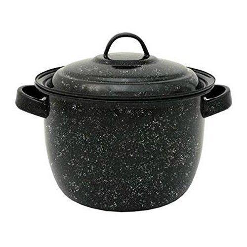 Round Dutch Oven Enameled Bean Pot Black Aluminum Camping Kitchen Cookware 4 Qt #RoundDutchOven