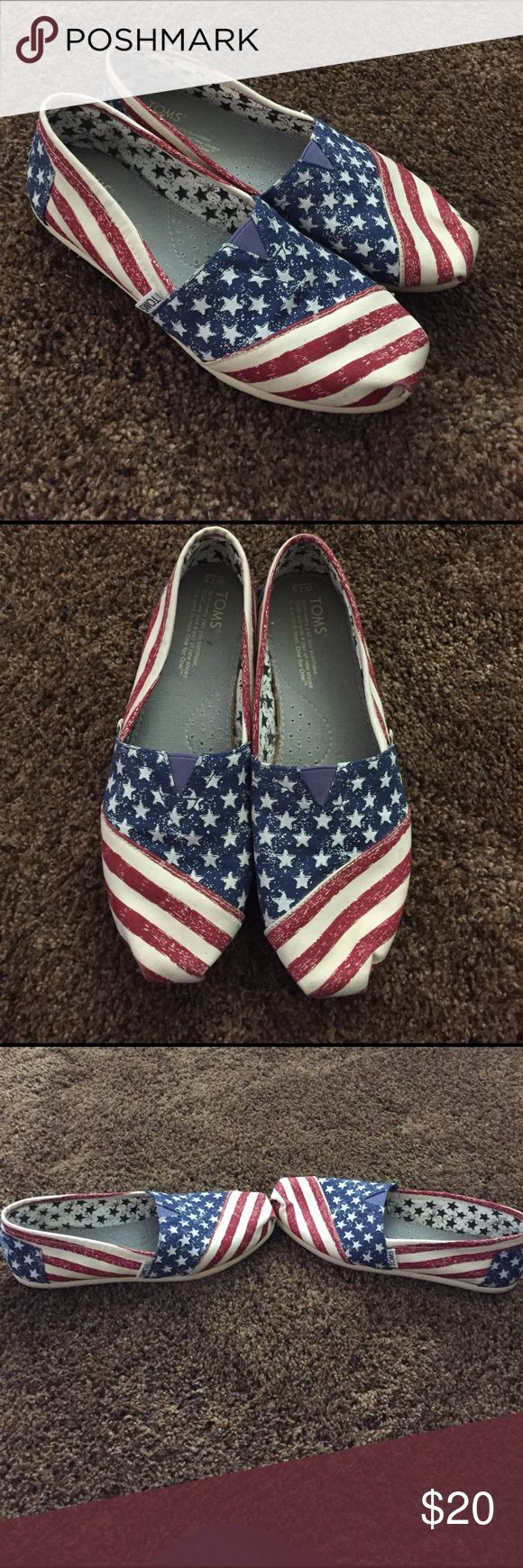 RARE Flag Toms Women's size 7.5 Toms. Flag canvas design! Worn only once for a few hours! Next to perfect condition! No holes or stains! The white part isn't really white it's like an off white/ivoryish color! Very clean! TOMS Shoes Flats & Loafers