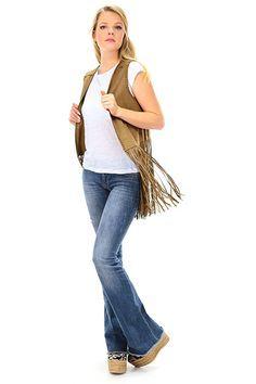 Kocca - Giacche - Abbigliamento - Gilet effetto pelle scamosciata con frange sulla bordatura. - 30002 - € 89.00