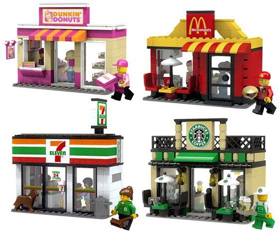 LEGO Mini Shop Series 1: Starbucks Coffee, McDonald's, 7-Eleven, Dunkin Donuts l #Lego
