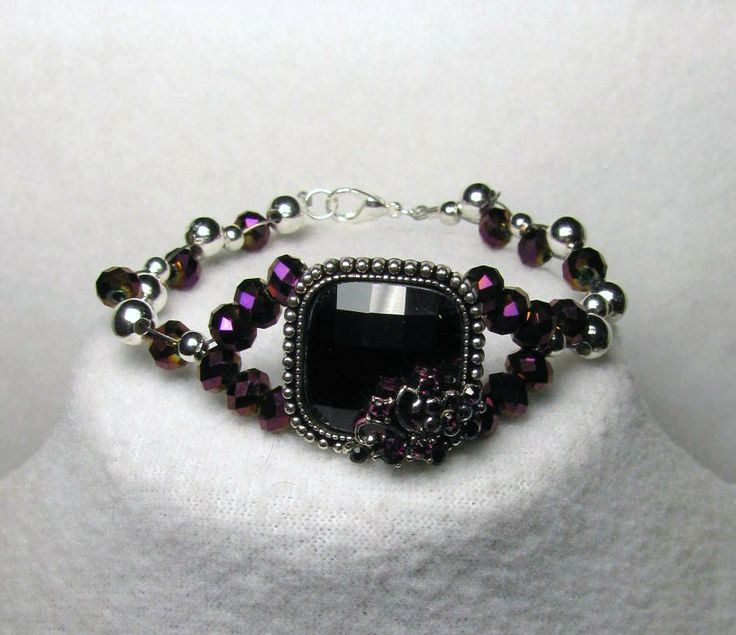 Item 1356a - Deep Swarovski Violet Crystal & Silver Beads with Deep Violet Crystal Glass Pendant Bracelet Weave $36 + $5 S&H.  Visit all my BEAUTIFUL jewelry pages, just follow the link: https://www.facebook.com/linda.foust.9?sk=photos...