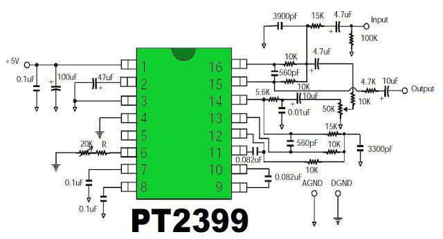 Digital Echo Processor IC PT2399 is using CMOS technology in audio purposes. Digital Echo Processor PT2399 is implementing the system in the process of ADC and DAC audio repro echo.