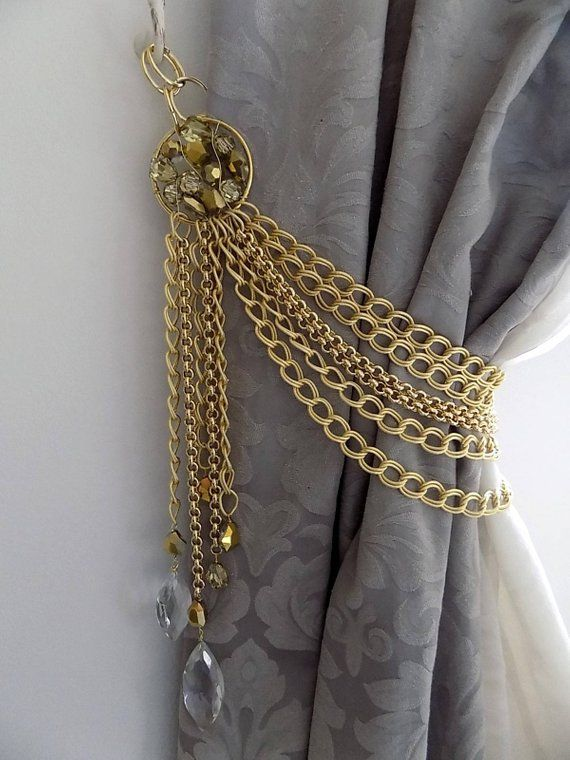 Luxury Gold Drapery Holder Gold Chain Bohemian Crystals