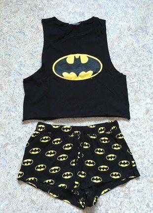 Pyjama femme Batman H&M haut top crop jaune et noir