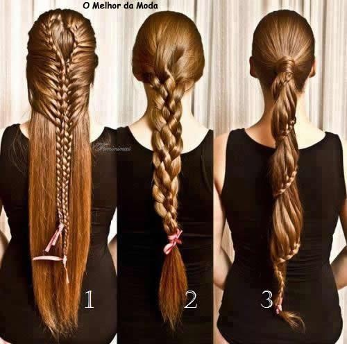 Three braid styles -- love the spiral on the right.