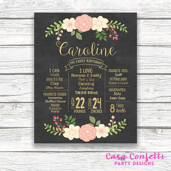 First Birthday Peach Pink and Gold Floral Chalkboard Sign, Gold Foil Floral Wreath Chalk Sign, Printable Custom Girl 1st Birthday Poster