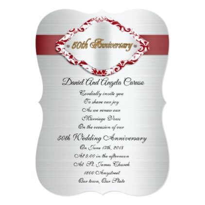 The 25 best wedding anniversary invitations ideas on pinterest 50th wedding anniversary invitation red and white elegant wedding gifts diy accessories ideas solutioingenieria Gallery