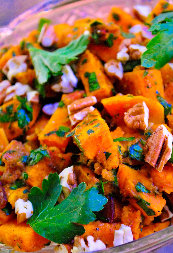Yep, that's right. Bacon & Brown Sugar Roasted Sweet Potato salad for only 125 calories per serving.