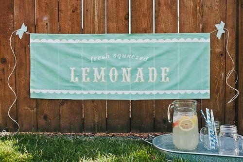 make a banner with a yard of spoonflower fabric