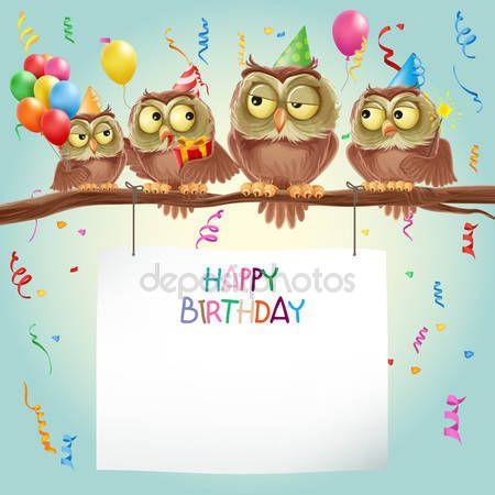 Card di buon compleanno con gufi — Illustrazione stock #94273630