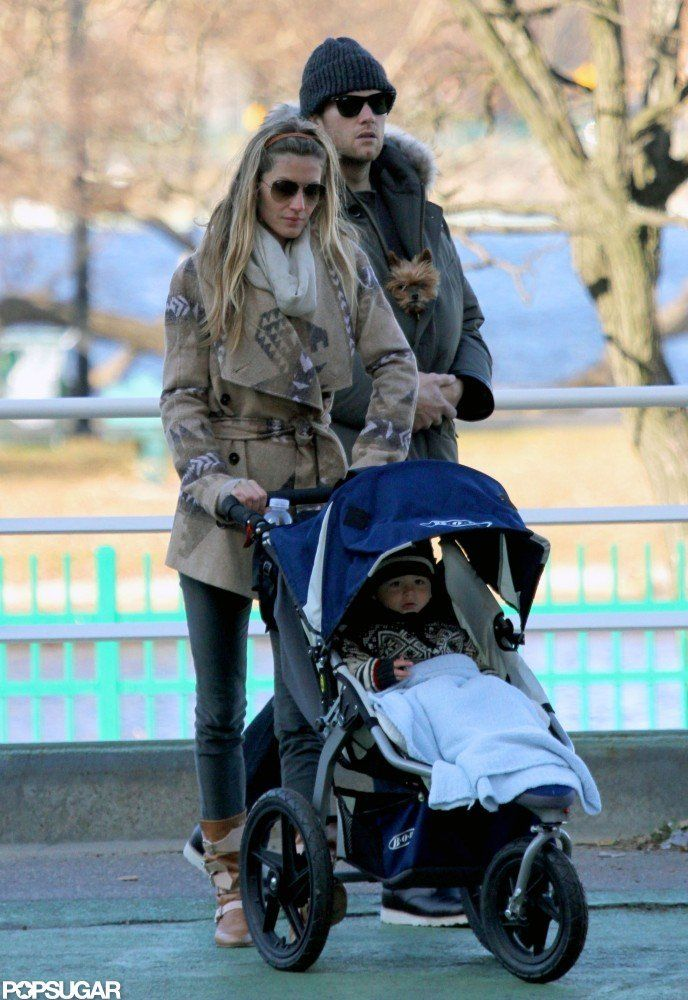 The Best Moments From Tom and Gisele's Exciting 2012! : Gisele Bündchen pushed Benjamin Brady in his stroller with Tom Brady close by in January.