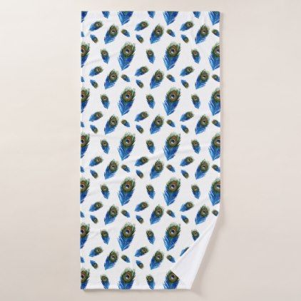 Peacock Feathers Pattern Tropical Birds Blue Bath Towel - patterns pattern special unique design gift idea diy