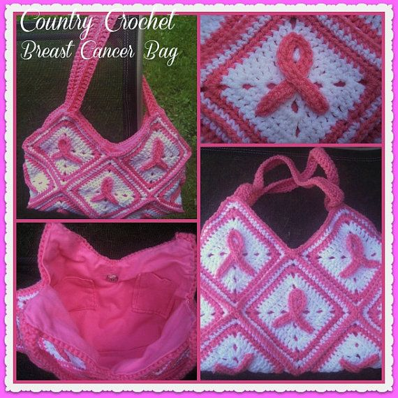 Crochet breast cancer awareness bag cancer by Countrycutecrochet, $45.00