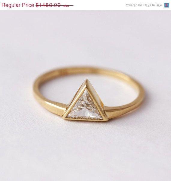 SUMMER SALE 0.3 Carat Trillion Diamond Ring - Diamond Engagement Ring - 18k Solid Gold on Etsy, $1,258.00