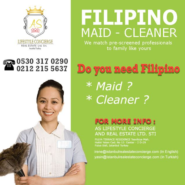 Istanbul Filipino Maids by AS Lifestyle Concierge and Real Estate Ltd. Sti.: Offering Filipino Maid - Cleaner