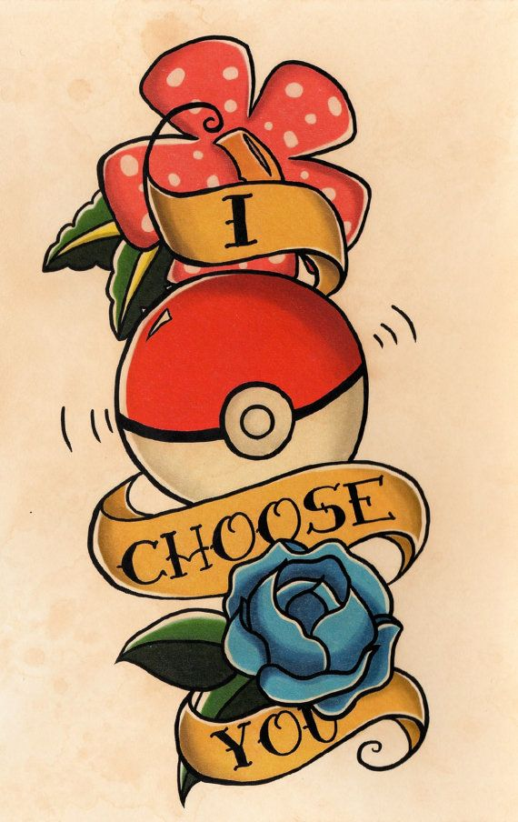 Pokemon Tattoo Flash Hand-Stained Print by Raicodoll on Etsy