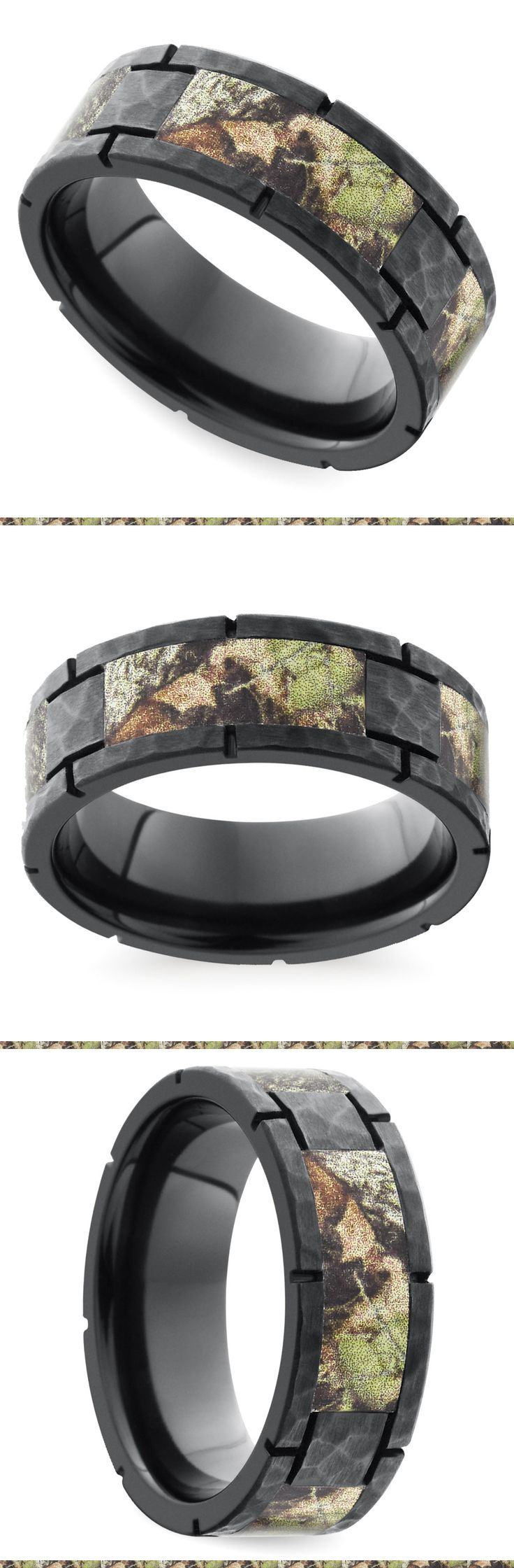 This strong design features segmented Mossy Oak camouflage inlays on an 8 mm zirconium band with hammered finish. Proudly made in the USA and comfort fit.