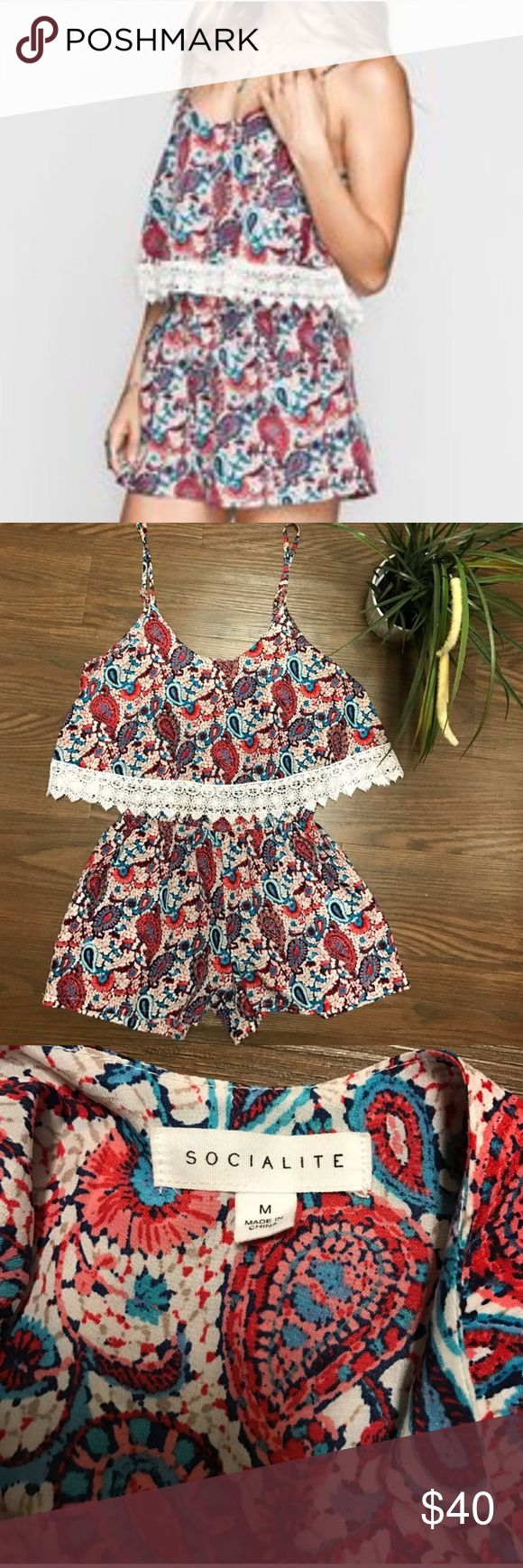 🍒🍒SWEET AND SASSY SOCIALITE ROMPER🍒🍒 This is a paisley lace trimmed romper rubber waist for that added definition. Some of the colors include cream orange turquoise. Ready for spring and fall. Or if you're lucky enough to take it on vacation with you now. rayon machine washable. Lenght 30 inches, waist 30 inches with lots of stretch. Nordstrom Pants Jumpsuits & Rompers
