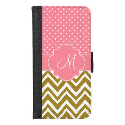 Monogram Gold Chevron with Pink Polka Dot Pattern iPhone 8/7 Wallet Case - pattern sample design template diy cyo customize
