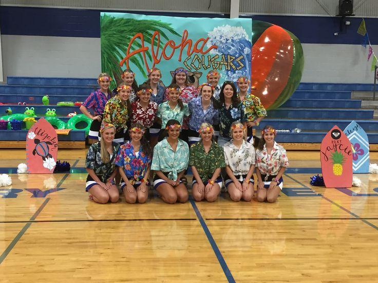 Hawaiian Themed Pep Rally 8•26•16 Cheer Team Picture