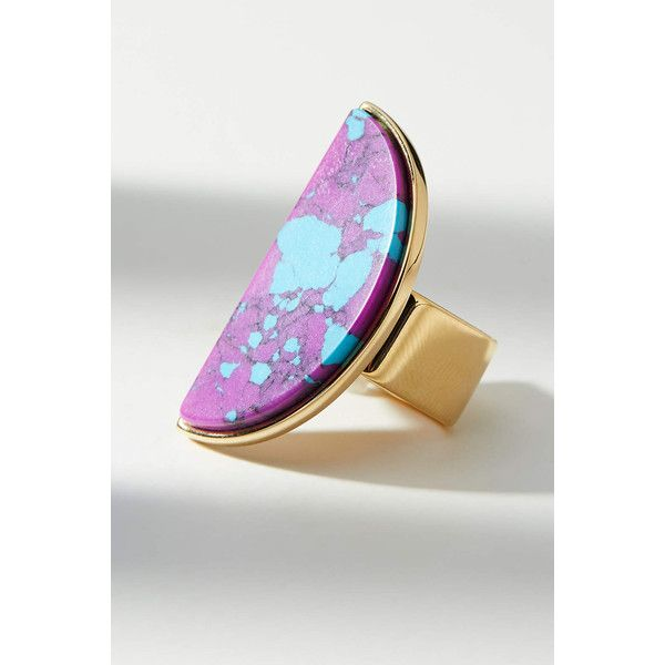 Sabrina Dehoff Half Moon Ring ($179) ❤ liked on Polyvore featuring jewelry, rings, purple motif, tri color ring, colorful jewelry, tri color jewelry, purple stone rings and stone rings