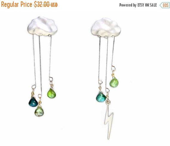 20 off. Lightning Storm Earrings. English Rain Cloud by GojoDesign