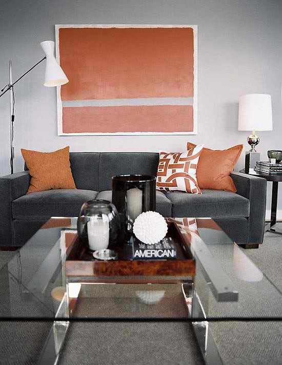 orange and grey livng room color scheme