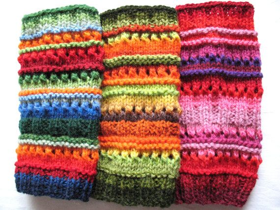 Leg Warmers Striped Multicolored Blue Red Green by Initasworks, $48.00