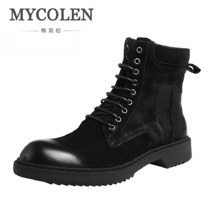 MYCOLEN British Style Leather Men Shoes Brand Dr Martin Boots Non-slip Military Ankle Boots Luxury Fashion Motorcycle Shoes #Affiliate