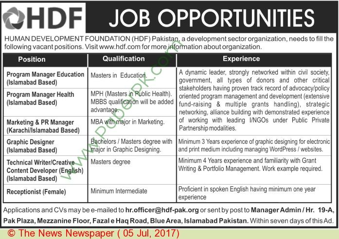 Human Development Foundation Islamabad Jobs     ===== - > -> -> Posted on:  5 July, 2017 Human Development Foundation Islamabad Jobs For Program Manager Qualification:-Candidates should be at least Master's Degree Holders & Minimum Experience:   #Advertisements #careers #Employment #Human Development Foundation Islamabad Jobs #Islamabad #Jobs #Karachi #Lahore #Pakistan #paperpk #The News #vacancy