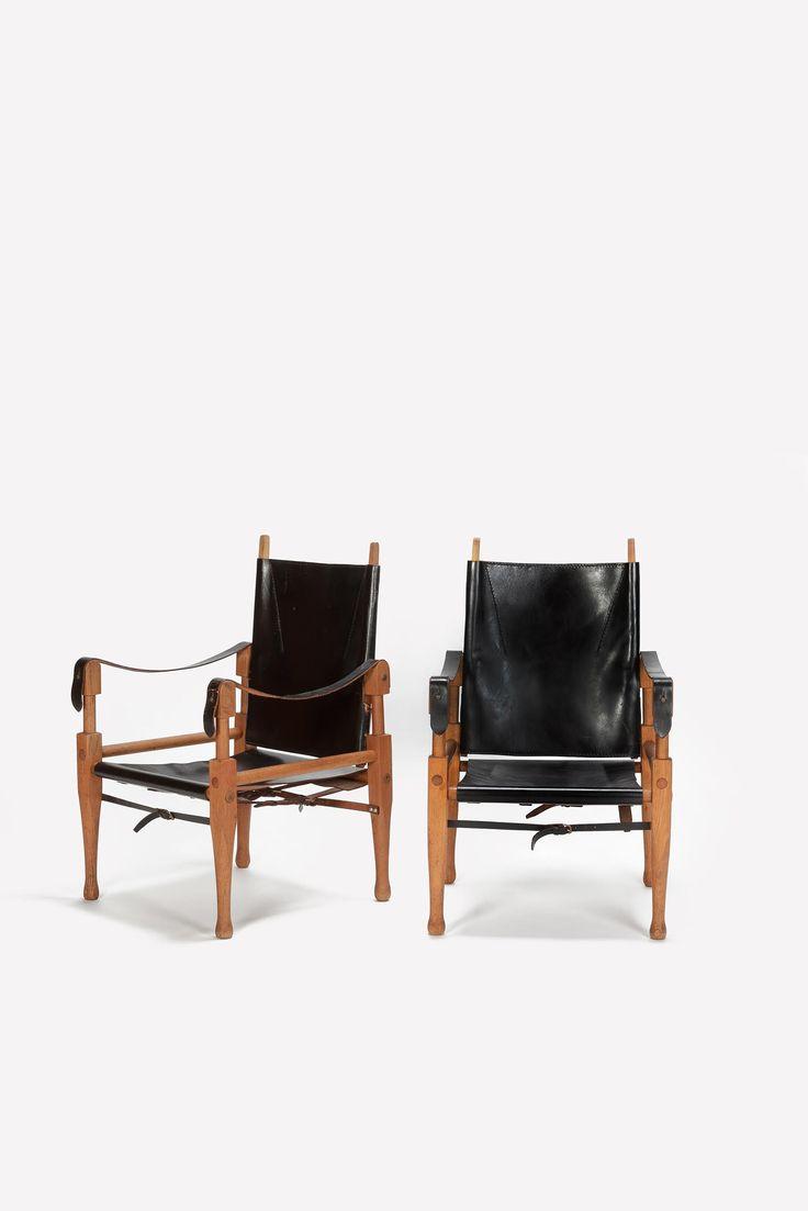Paar Wilhelm Kienzle Safari Chairs Leder 50er - Okay Art