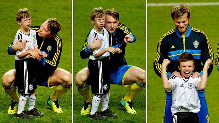Excellent story & pictures: Kim Kallstrom consoles frightened autistic boy before Sweden v Germany