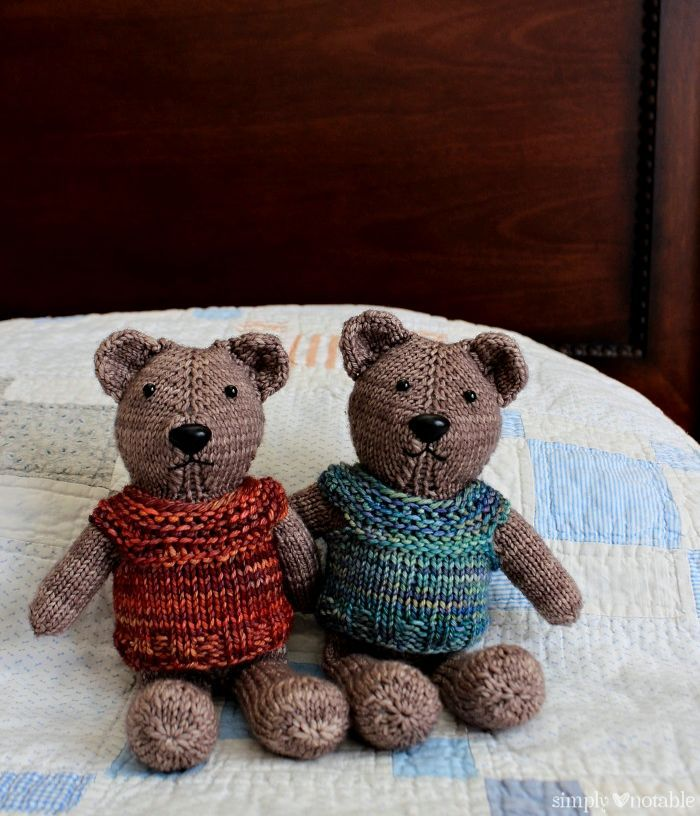 Designed to be knit in the round with magic loop, this knit one piece teddy bear pattern is seamless except for sewing his ears to his little noggin!