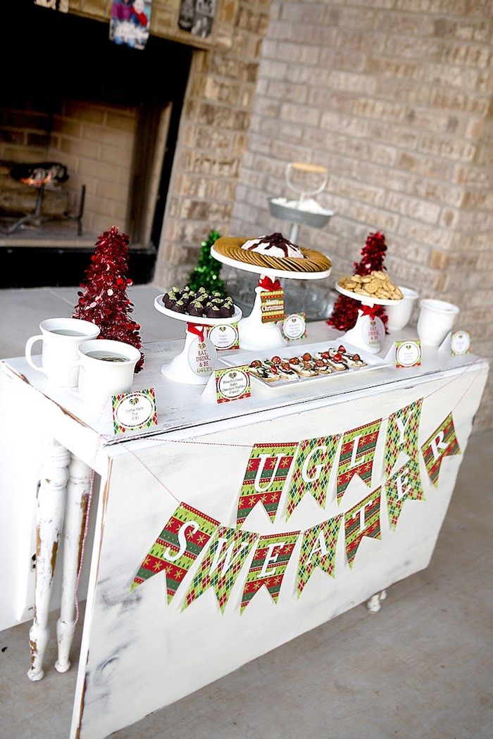 Snack Table from an Ugly Sweater Party + FREE Printables via Kara's Party Ideas KarasPartyIdeas.com (9)