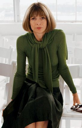 ANNA WINTOUR, the English editor-in-chief of American Vogue, a position she has held since 1988. Born in London to an English father (Charles Wintour was editor of the Evening Standard) and a displaced American mother, she was educated and worked in England, but eventually left for New York City. She returned to the UK to edit British Vogue, but was bacon New York again, finally becoming editor of Vogue in 1987.