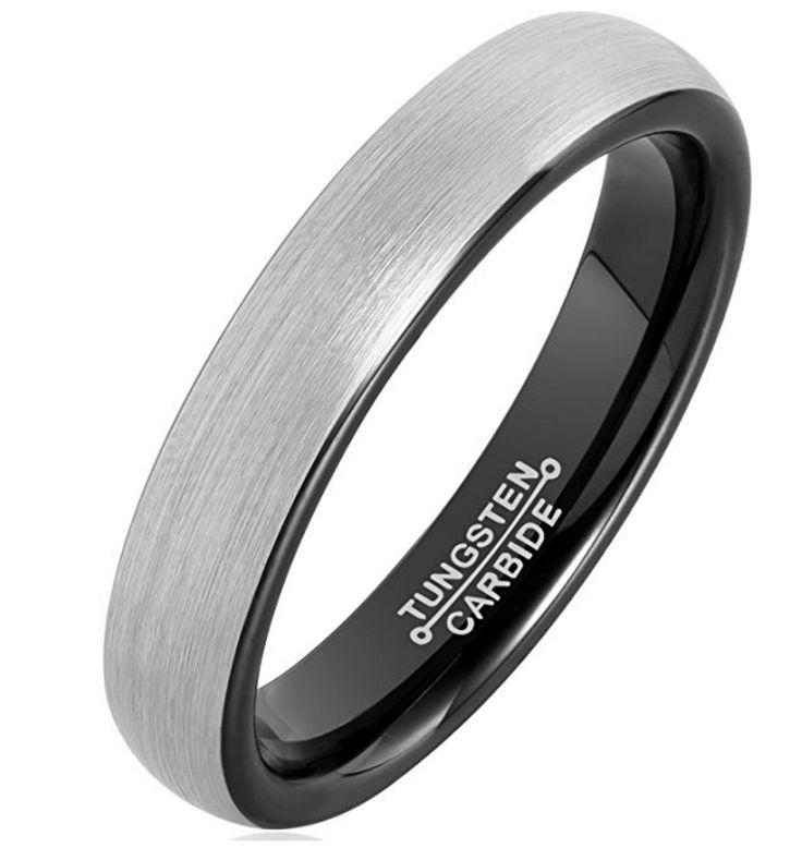 4mm Tungsten Rings for Men Wedding Engagement Band Brushed Black