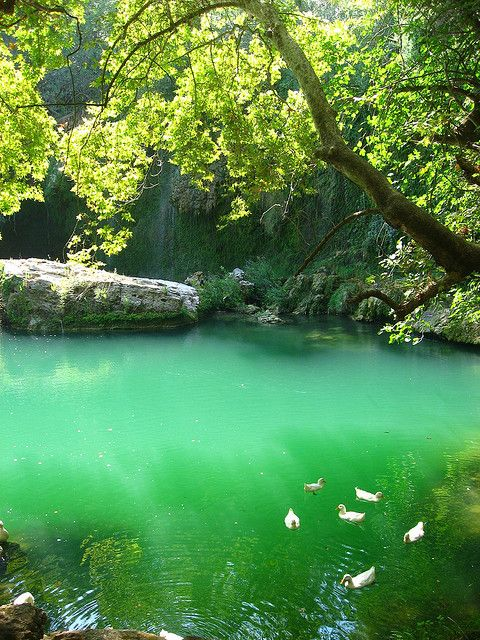 Emerald waters at Kurşunlu Waterfall Nature Park, near Antalya, Turkey