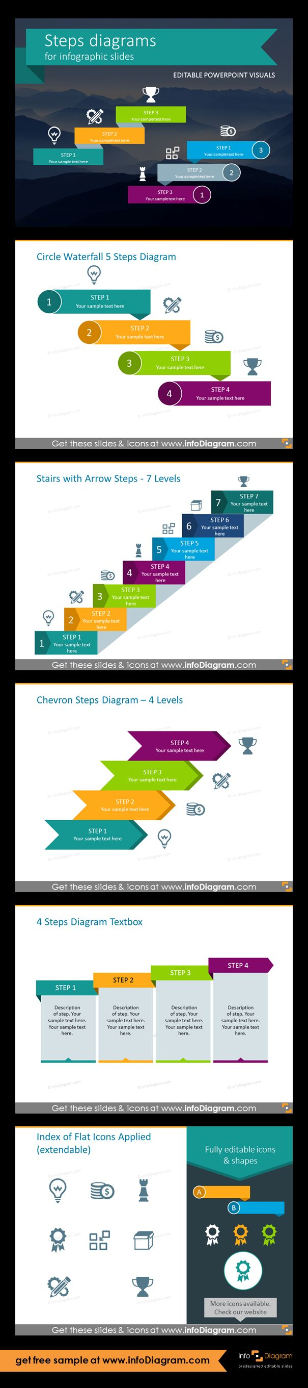 Template slides for Steps diagrams and Staircase infographics. Editable PowerPoint graphics for showing progress flow charts, project stages, planning phases and roadmaps by modern infographics. Fully editable style, size and colors. Waterfall 5 steps diagram, staies with arrow steps - 7 levels, chevron steps - 4 levels, 4 steps diagram textbox, flat icons. Use stairs diagrams for Agendas and sequence lists.