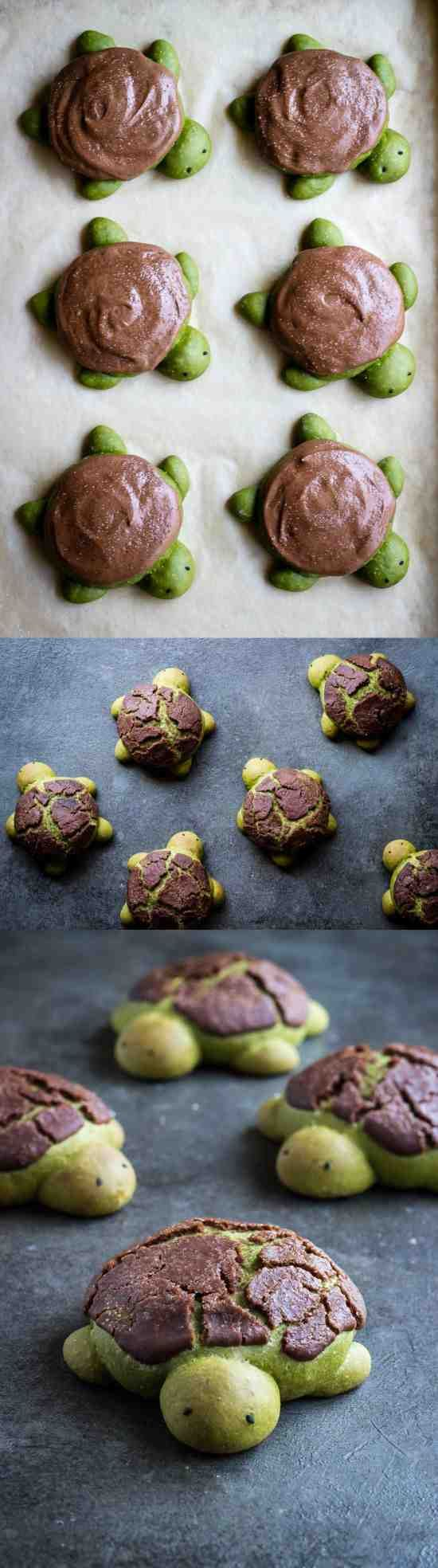 MATCHA MILK BREAD TURTLES | WITH CHOCOLATE DUTCH CRUNCH - bread, chocolate, cookie, dessert, milk, recipes, sesame, vanilla