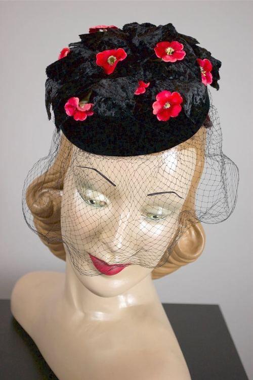 Mini pillbox hat with veil 1960s black velvet flowers vintage cocktail