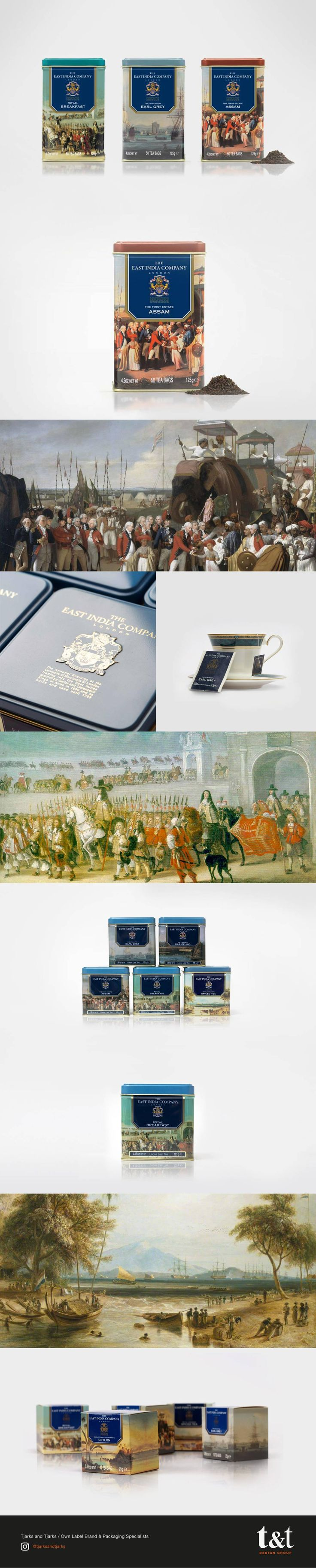 East India Company - Premium Tea Packaging Design - We were delighted when the famous East India Company briefed us to develop designs for a range of premium tea caddys. The concepts had to reflect the company's four hundred year history and rich heritage