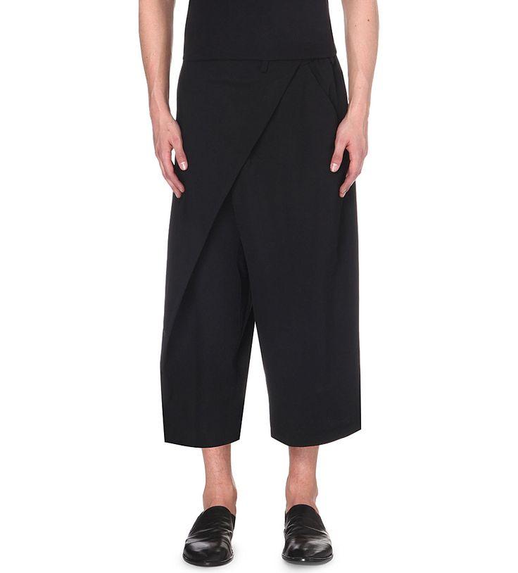 YOHJI YAMAMOTO Wrap-style loose-fit wool trousers (Black