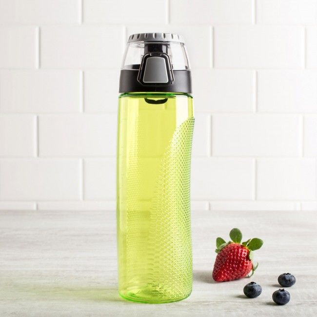 Stay hydrated with a simple and stylish Thermos Intak Water Bottle with Meter. This BPA-free water bottle features a secure twist on lid and rotating meter that lets you monitor your daily water consumption.