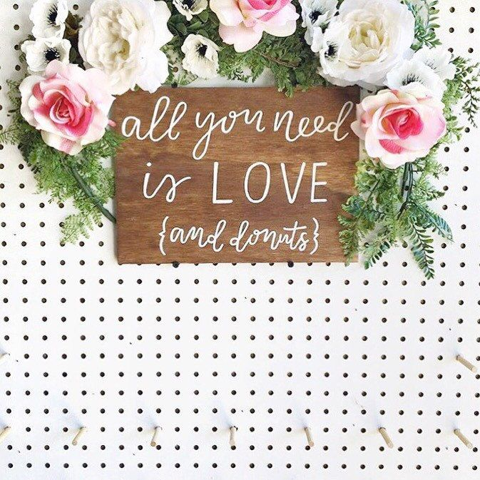 All You Need is Love and Donuts Sign // Wedding Cake Sign // Calligraphy Sign // Rustic Wedding Signs // Donut Bar Sign // Wedding Donuts