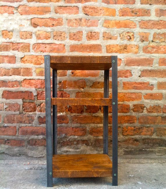 Industrial Reclaimed Wood Nightstand Bedside Table