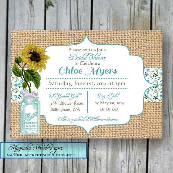 Printable Bridal Shower Invitation, Mason Jar Bridal Shower Invite, DIY Bridal, Rustic Bridal Shower, Burlap and Sunflower Bridal Shower