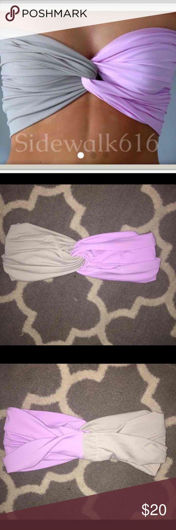 Purple and gray twisted bandeau bikini Top size small Swim Bikinis