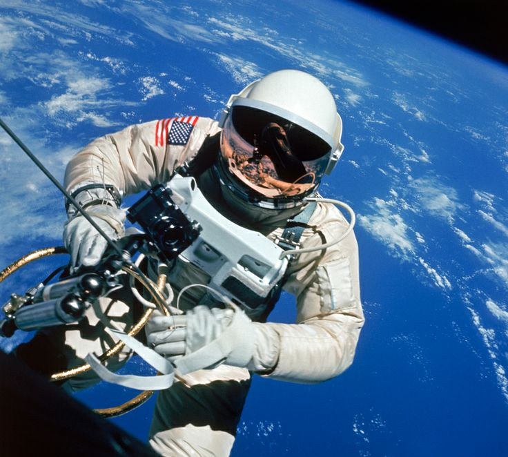Edward White, the first American to walk in space, photographed by commander James McDivitt during NASA's Gemini 4 mission, June 1965
